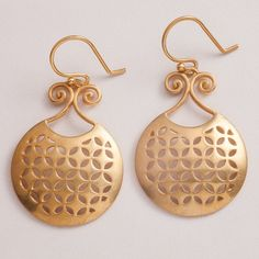 Classic gold plated silver earrings handcrafted and finished for a satin feel. Designed by Puja Bhargava Kamath of Lai, they form part of the Malakeh collection, inspired by Islamic Central Asia. Sterling silver with gold-plating and semi-precious stones.