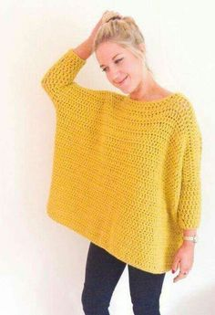 Crochet Diy crochet: Oversized Box Jumper by Frank Pull Crochet, Mode Crochet, Crochet Diy, Crochet Woman, Crochet Tops, Crochet Ideas, Crochet Cardigan, Crochet Shawl, Crochet Stitches