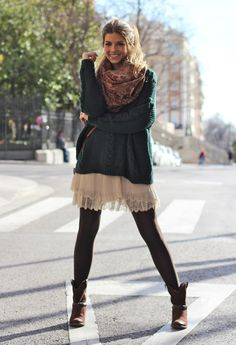 lace + sweater. so fun to layer this look.
