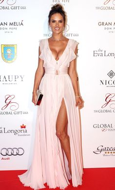 Alessandra Ambrosio in a blush pink ruffle dress