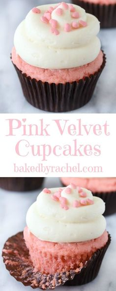 Pink velvet cupcakes with cream cheese frosting recipe from @Rachel {Baked by Rachel}