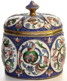 A Russian enamelled covered pot.Русские эмали. Russian Enamel Russian Art : : More Pins Like This At FOSTERGINGER @ Pinterest