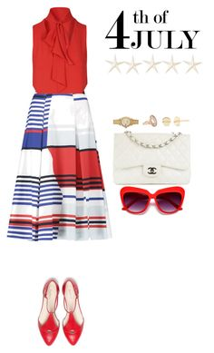 """4th of July"" by judithaem ❤ liked on Polyvore featuring Milly, Glamorous, Chanel, Rolex, Larkspur & Hawk, EF Collection and Cultural Intrigue"