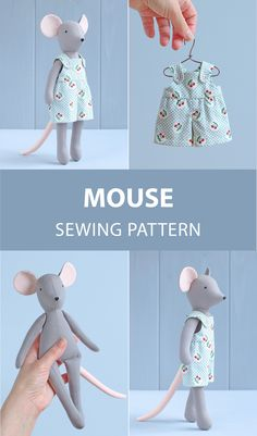 Mouse doll with clothes sewing pattern — diy soft toy, animal doll Fabric Doll Pattern, Doll Sewing Patterns, Sewing Dolls, Handmade Soft Toys, Fabric Animals, Fabric Toys, Stuffed Animal Patterns, Cute Dolls, Sewing For Kids