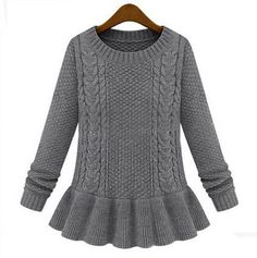 Vintage ruffle top crew neck cable knit sweaters for women