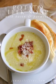 Simple Potato Leek Soup with Parmesan & Bacon (recipe highly recommended by Lev)