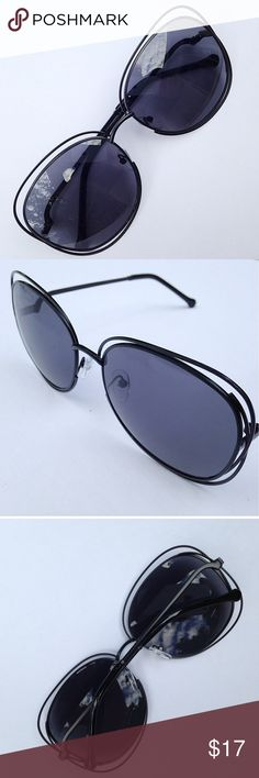 Stunning New Black Sunglasses Really gorgeous wire rim sunglasses in black with smoke color lenses. New in packaging. UV protection. Photos 2-4 are of the actual sunglasses and photo 1 is by the designer. Fair offers or bundle. Fashion Sunglasses Accessories Sunglasses