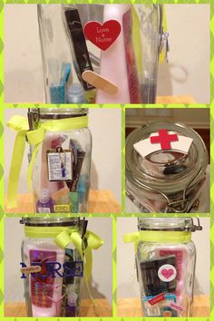Thank You gift for school nurse... Container from Hobby Lobby, embellishments by Soft Spoken