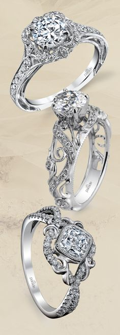 Intricate engagement rings from Parade Design are so sophisticated! (Styles R3195, R3055 and R2771)