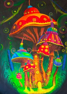 Mushroom Spacetown UV Painting - handmade on order blacklight active psychedelic psilo neon glowing multiple sizes