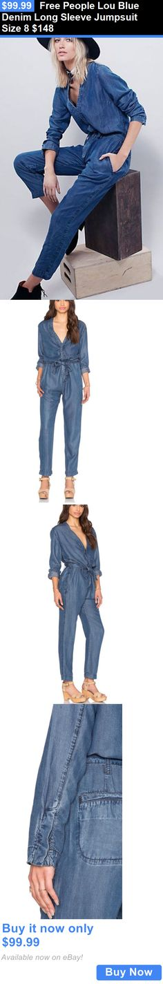 Jumpsuits And Rompers: Free People Lou Blue Denim Long Sleeve Jumpsuit Size 8 $148 BUY IT NOW ONLY: $99.99 #priceabateJumpsuitsAndRompers OR #priceabate