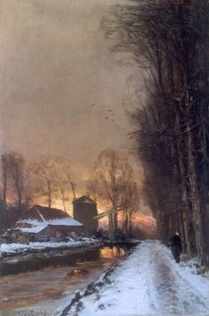 Lodewijk Franciscus Hendrik 'Louis' Apol (Den Haag A winter landscape with a traveller on a path at dusk - Dutch Art Gallery Simonis and Buunk Ede, Netherlands. Mary Cassatt, Monet, Henri Matisse, La Haye, Vincent Van Gogh, Winter Painting, Classic Paintings, Dutch Painters, Dutch Artists