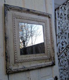 Antique Ceiling Tin Tile Mirror.