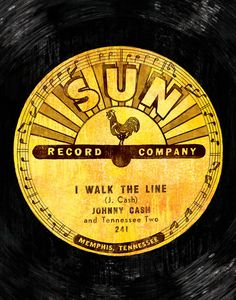 "This Johnny Cash ""I Walk the Line"" Sun Record art print is a professional, digital reproduction of my original mixed media on a heavyweight satin paper. Sun Records, Vinyl Records, Lp Vinyl, Johnny Cash Tattoo, Rockabilly Music, 50s Music, Johnny Cash June Carter, Record Art, Poster Prints"