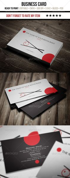 Japanese Restaurant Business Card - Industry Specific Business Cards