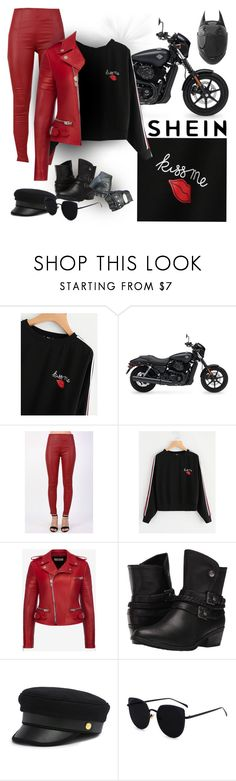 """""""Kiss Me, You Fool"""" by debschlier ❤ liked on Polyvore featuring Harley-Davidson, Pilot, Bally, BareTraps, Henri Bendel, Ultimate, KissMe, blackandred, harley and shein"""