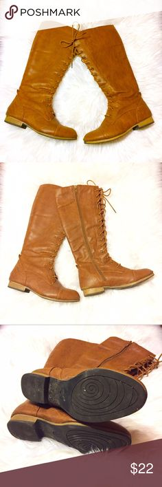 """Lace-Up Knee High Boots Warm chestnut brown lace-up knee high boots with an interior side zipper. Calf width adjusts to 15"""" circumference, 15.5"""" height from bottom of heel to top of boot, 3/4"""" heel height. Small pull-on tab on back of each boot near ankle area. Only damage to note is on back of each boot - back of left boot has some winter salt discoloration, right boot has 2 marks on back of heel. Please ask questions and feel free to bundle with other items in my closet for a discount! 💕…"""