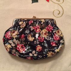 Floral pouch clutch Hot pink silk interior!  Bags Clutches & Wristlets