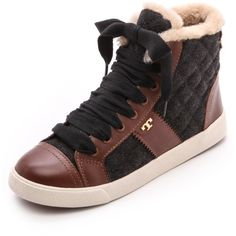 $250.00 Tory Burch Oliver Flannel High Top Sneakers - Charcoal/Almond