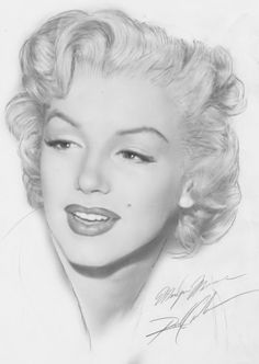 Gorgeous Marilyn drawing....wish I could make out the artist's name.