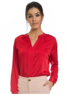 01fce6a7d Camisas sociais femininas | Principessa · blusa de cetim vermelha  principessa alessa look. Loja Principessa