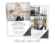 Send a custom baptism invitation to friends and family to announce your son's baptism day! This customizable baptism invitation will highlight your son's special baptism portraits. Photos and text can be added in minutes by you! Easily edit in your web browser, no software needed! View MORE Baptism Christmas Card Template, Christmas Photo Cards, Holiday Cards, Baptism Announcement, Lds Baptism Program, Boy Baptism, Baptism Pictures, Baptism Invitations Girl, Web Browser