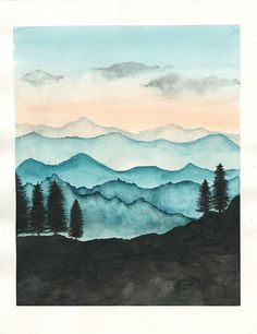 Blue Ridge Mountains Aquarell Print / Natur von RainStain auf Etsy