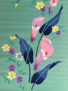 Vintage Japanese yukata cotton pastel lilies on green by kimonomomo