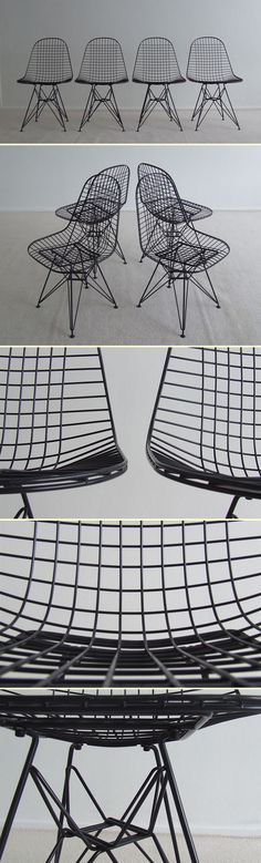 Four Charles Eames Eiffel Wire chairs (1364)