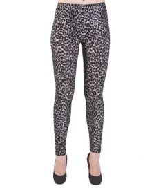 Deep Gray Leopard Print Leggings