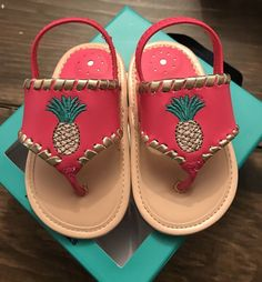 fd9c8a638a68b4 JACK ROGERS My First Jacks Baby Toddler Pineapple Pink Sandals 9-12 Mo Sz 4