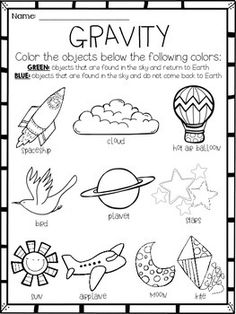 Gravity {Activity} or {Assessment} Freebie For. by Khrys Greco Science Fair, Science Lessons, Science For Kids, Earth Science, Primary Science, Preschool Lessons, Science Worksheets, Science Activities, Science Projects