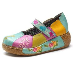 Buy New Printing Splicing Pattern Flat Leather Shoes online with cheap prices and discover fashion Women's Shoes,Flat & Loafers at Shechoic.com.