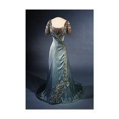 1907-9 evening dress queen maude of norway | The magic across the cen… found on Polyvore featuring polyvore, fashion, clothing, dresses and blue dress