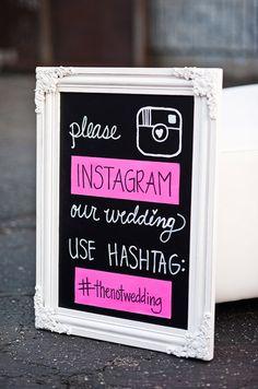 Cute chalkboard social media sign /// Photo by Candice Benjamin via Project Wedding