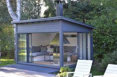 Outdoor Living Rooms, Outside Living, Garden Buildings, Garden Structures, Outdoor Sheds, Outdoor Gardens, Outdoor Curtains, Outdoor Decor, Backyard Gym