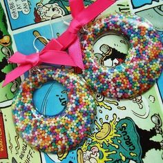 """""""Tooth Rot"""" - Colourful Retro Candy Huge Hoop Earrings - 100's & 1000's £12.99"""