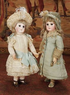 "French Early Period Bisque Bebe by Jumeau with Lovely Pale Bisque 16"" (41 cm.) and French Bisque Bebe by Emile Jumeau,Early Period,with Signed Jumeau Shoes 17"" (43 cm.)"