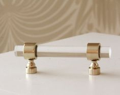 """1/2"""" Dia. Polished Brass Drawer Pulls - Lucite Cabinet Handles"""