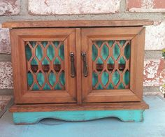 Rustic Wood SHABBY CHIC Jewelry Box / Armoire Cabinet Case - Vintage Rustic Jewelry Box