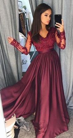 Burgundy Long Sleeves V Neck Lace Top A Line Long Prom Dresses #longsleeves #burgundy #vneck #okdresses