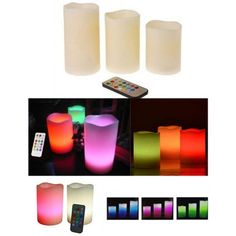 3-set multi-color remote controlled flameless LED candles Led Candles, Remote, Gadgets, Electronics, Color, Colour, Gadget, Consumer Electronics, Colors