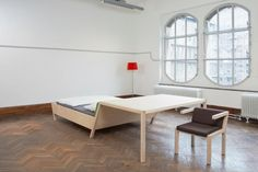 Erik Griffioen Furniture Design (NL)    Erik Griffioen presents The Bed'nTable. A clash between two pieces of furniture. Fused together for an experiment in function plus form. ¬The Bed'nTable inspires to rethink use of space. Extreme design for varied applications. Relax, sleep, work & eat at the Bed'nTable.