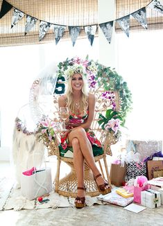 Bridal Shower Chair, Luau Bridal Shower, Bridal Shower Backdrop, Garden Bridal Showers, Beach Bridal Showers, Tropical Bridal Showers, Bridal Shower Decorations, Bridal Shower Gifts, Bridal Shower Outfits