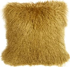Purchase Pillow Decor - Mongolian Sheepskin Soft Gold Throw Pillow from Pillow Decor on OpenSky.