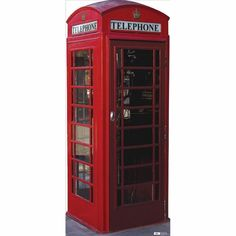 Life Sized English Phone Booth Cardboard Cutout $34.95
