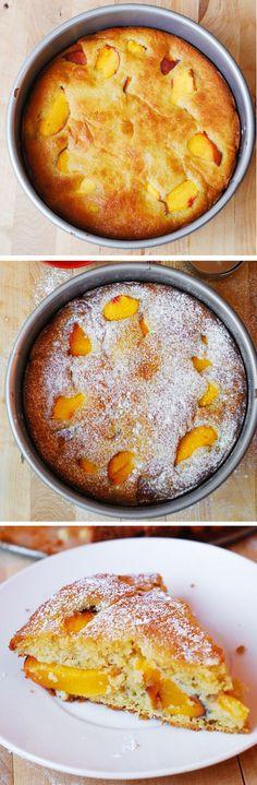 Amazing, easy-to-make, everyday recipe: Gluten Free Peach Yogurt Cake, made without any gums, using gluten-free (and gum-free) multi-purpose flour (King Arthur brand), and Greek yogurt!