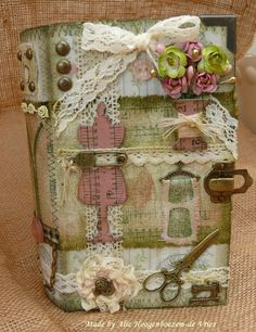 Altered wooden (sewing) box/book, made by Alie Hoogenboezem-de Vries