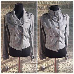 """❗️happy thursday❗️Railroad stripe Moto jacket Light wear no stains, tears - can be worn two ways as shown in the first photo size small but fits my """"medium"""" size mannequin: My dress forms measurements are: bust 34"""", waist 26"""", hips 35""""  Size 6/8 """"medium"""" *** make an offer  Abercrombie & Fitch Jackets & Coats"""