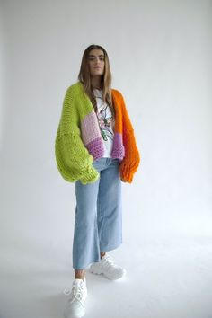 Item will be shipped on the 5th December 2019 Handmade oversized green, pink, orange chunky knit cardigan with balloon sleeves. Material: 100% merino wool Each piece may slightly vary as they are bespoke and handmade to order. Please follow care instructions to maintain appearance and extend the life of the garment. Chunky Knit Jumper, Oversized Knit Cardigan, Wool Cardigan, Chunky Knitwear, Cardigan Pattern, Crochet Cardigan, Crochet Clothes, Diy Clothes, Cardigan Outfits